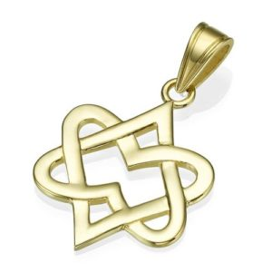14K Yellow Gold Abstract Hearts Star of David Pendant - Baltinester Jewelry