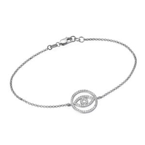 14k White Gold Evil Eye Diamond Bracelet - Baltinester Jewelry