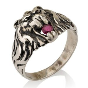 Oxidized Silver Lion of Judah Ruby Ring - Baltinester Jewelry
