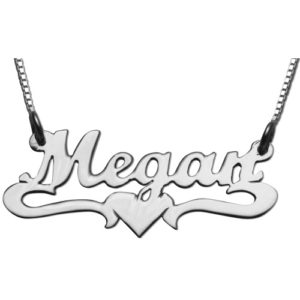 Silver Underline Middle Heart Script Name Necklace - Baltinester Jewelry