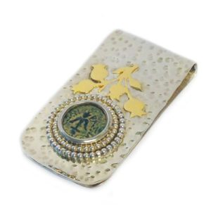 Hammered Silver and Gold Maccabean Coin Money Clip - Baltinester Jewelry