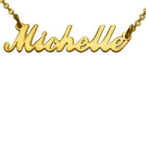 Gold Plated Script Name Necklace - Baltinester Jewelry