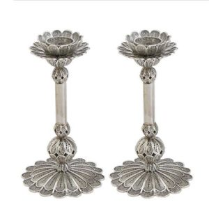 Filigree Smooth Stem Silver Candle Holders - Baltinester Jewelry