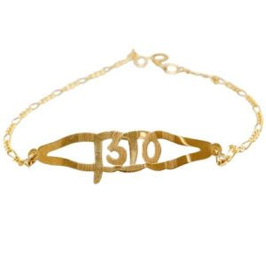 14k Gold Leaf Name Bracelet - Baltinester Jewelry