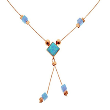 14k Rose Gold Opal Cube Necklace - Baltinester Jewelry
