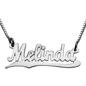 Silver Underlined Script Name Necklace - Baltinester Jewelry