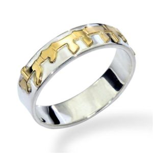Silver and Gold Ani L'Dodi Ring - Baltinester Jewelry
