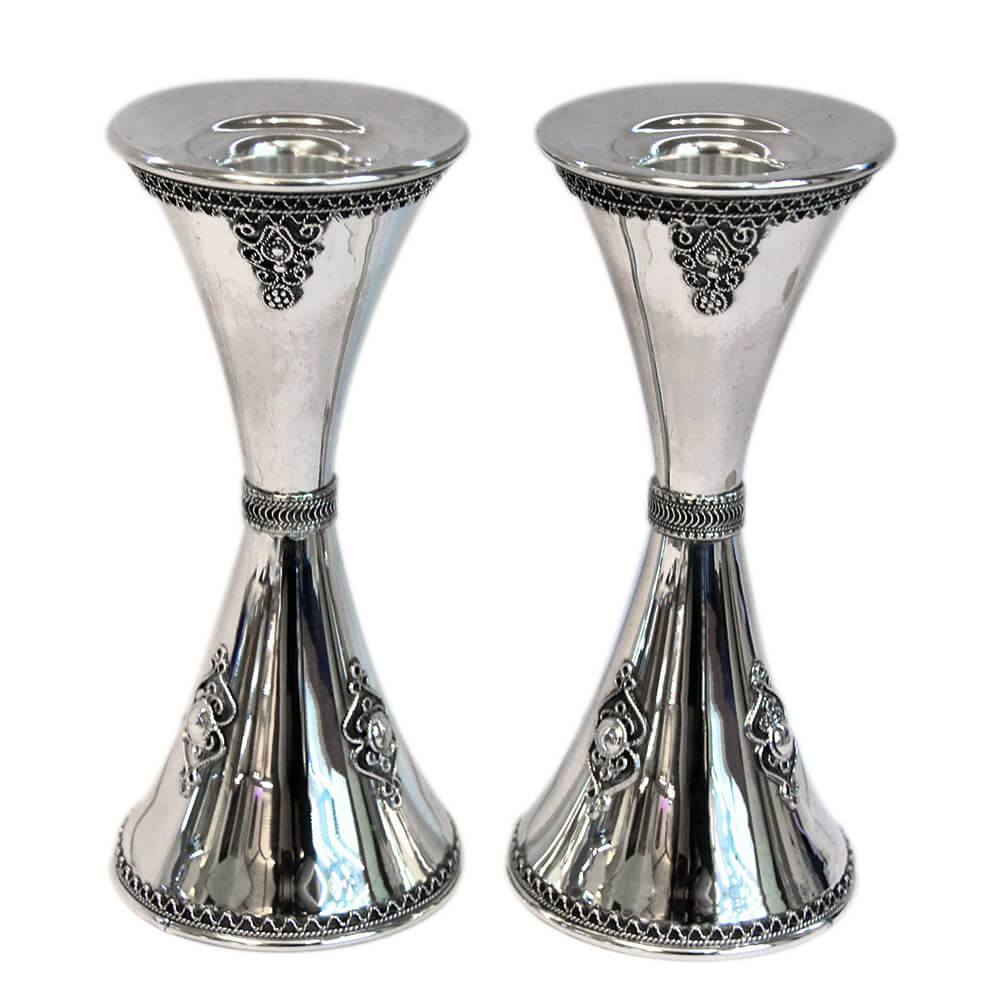 Hourglass Small Sterling Silver Candlesticks - Baltinester Jewelry