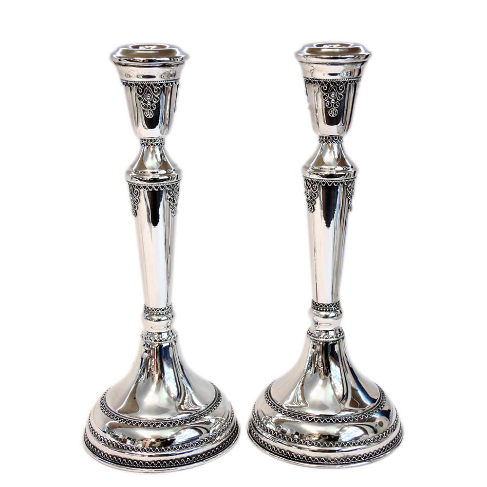 Ornate Tall Sterling Silver Candlesticks - Baltinester Jewelry