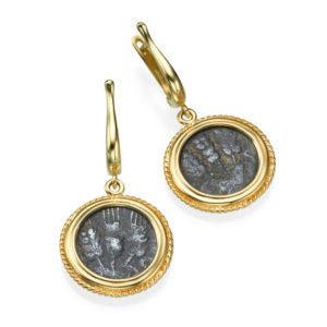 Ancient Roman Agrippa Coins 14k Gold Dangle Earrings - Baltinester Jewelry