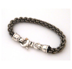 Round Titanium and Silver Link Chain Bracelet - Baltinester Jewelry