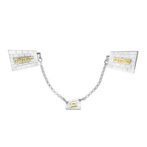 Silver and Gold Kotel Name Tallit Clip - Baltinester Jewelry